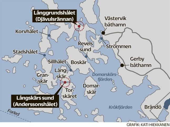 Från den 15 maj är maxhastigheten i Långgrundshålet 4 kilometer i timmen och i Långskärs sund 8 kilometer i timmen.