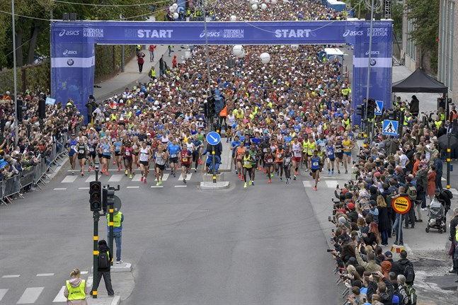 Starten i Stockholm Marathon i fjol.