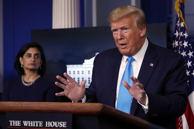 President Trump under presskonferensen i Vita huset.