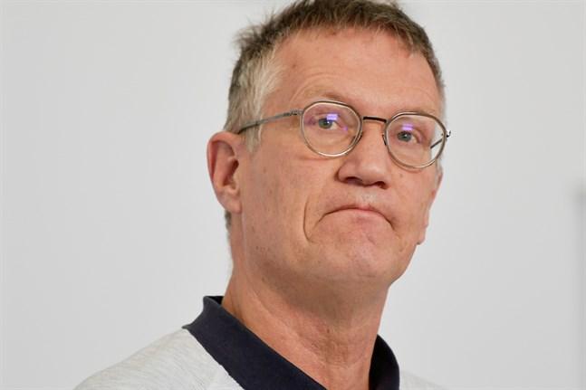 Statsepidemiolog Anders Tegnell under Folkhälsomyndighetens pressträff på torsdagen.