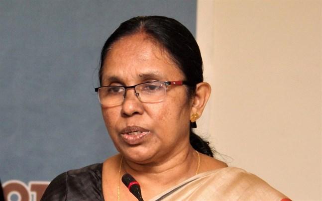 """Den indiska delstaten Keralas hälsominister KK Shailaja har blivit känd som """"coronavirusdräparen""""."""