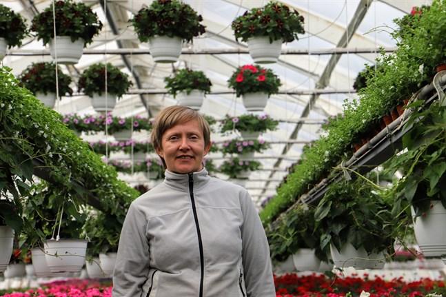Elina Ihamäki-Närkkis företag får pris. Hon tog över Ihamäen puutarha i Pettersbacka i Vörå 2009.