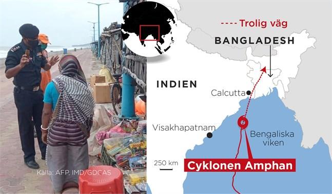 En kraftig cyklon är på väg mot Indien och Bangladesh.