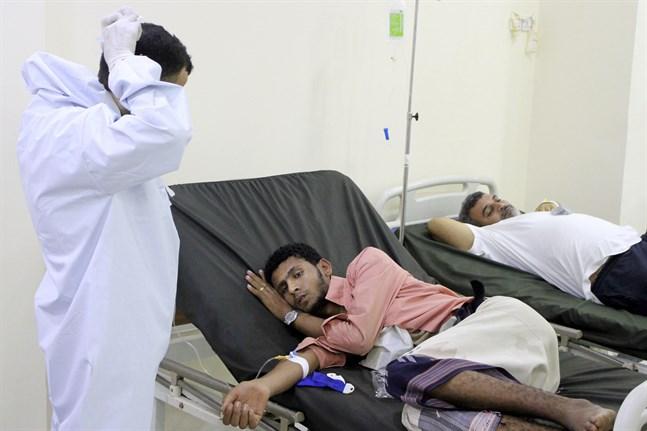 Behandling av patienter med symtom på covid-19 i Aden i södra Jemen. Arkivbild.