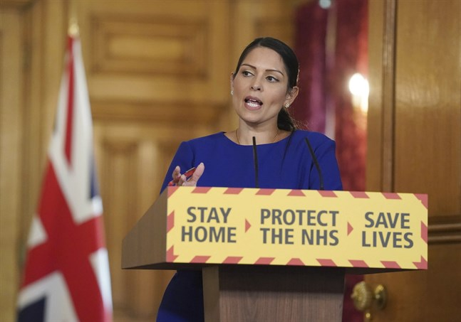 Storbritanniens inrikesminister Priti Patel. Arkivbild.