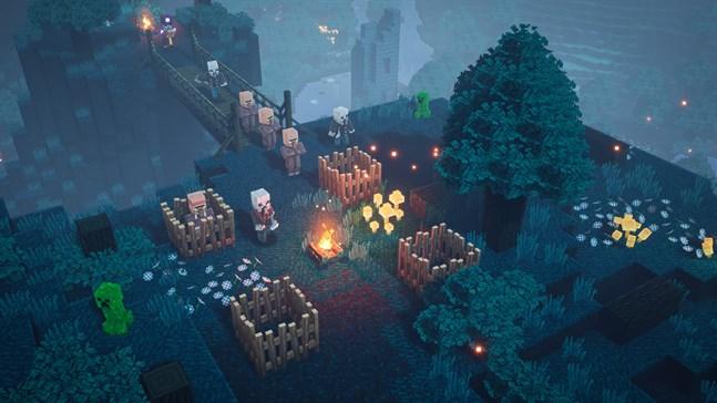 """""""Minecraft dungeons"""" är byggt för samarbete. Uppemot fyra spelare kan spela samtidigt i soffan, eller via nätet. Pressbild."""