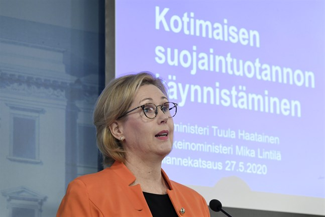 "Three Finnish companies have started large-scale manufacturing of protective face masks this week. ""The coronavirus epidemic has highlighted the importance of domestic production"" says Tuula Haatainen (SDP) Minister of Labour."