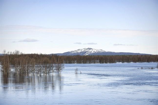 Älven Ounasjoki har svämmat över och just nu ser området nära slalombackarna i Levi ut som en insjö.