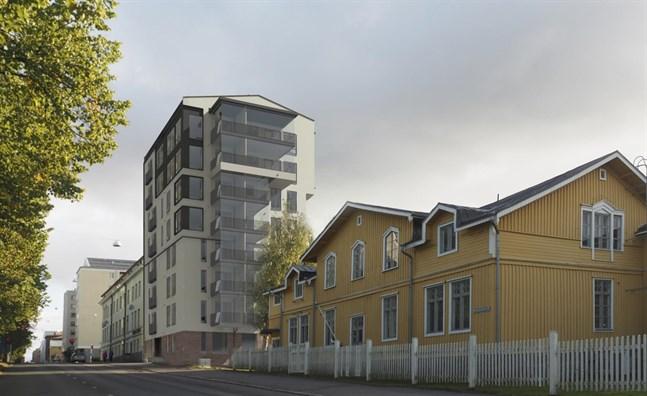 Det nya tornhuset på Kyrkoesplanaden ska passa in i miljön med nytt och gamla skyddade byggnader.