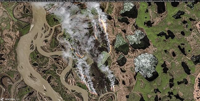 """Misstänkta """"zombiebränder"""" vid Zyrjanka i den ryska delrepubliken Jakutien nära polcirkeln."""