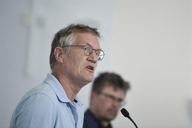 Anders Tegnell, statsepidemiolog på Folkhälsomyndigheten, vid en pressträff i förra veckan.