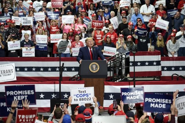 USA:s president Donald Trump under ett massmöte i Charlotte i början av mars.