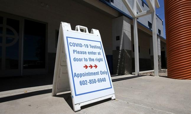 En mottagning för virustestning i Arizona. Arkivbild.
