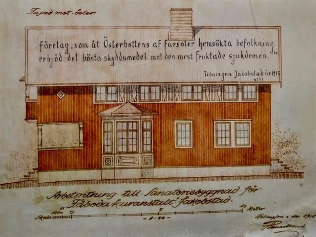 Runar Eklunds ritning på Fäboda kur. Här syns fasaden mot öster.