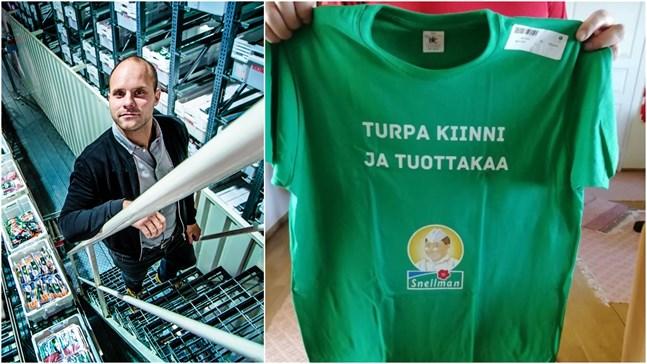 Vd Roland Snellman är inte vidare förtjust i t-shirten som någon har tryckt upp och distribuerat.