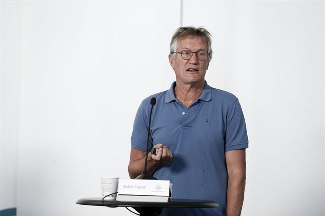 Anders Tegnell, statsepidemiolog på Folkhälsomyndigheten, vid tisdagens pressträff.