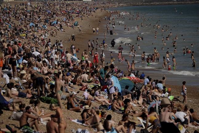 Trångt på stranden i Brighton häromdagen.