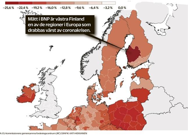 Prognosen gäller hösten 2020 och framåt. I västra Finland är fallhöjden högst eftersom produktiviteten är störst. Slår prognosen för Västra Finland in betyder det att de fem regionerna skulle bidra betydligt mindre än normalt till hela Finlands BNP. Prognosen gäller regionerna som helhet, inte enbart exportföretagen. Det är deras beräknade tapp som är förklaringen.