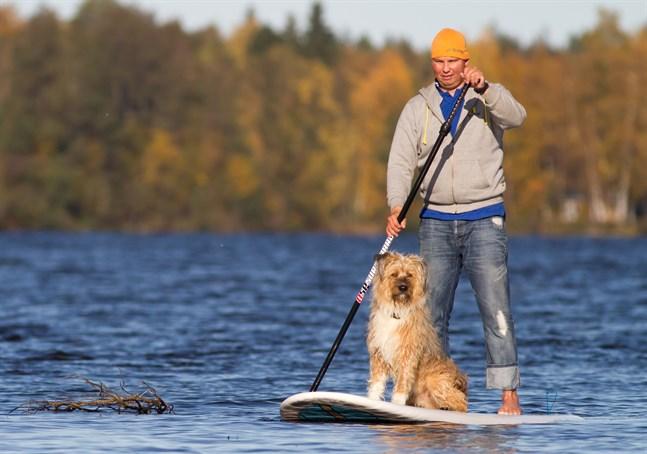 Andreas Lindh och hunden Balo på SUP-bräda.
