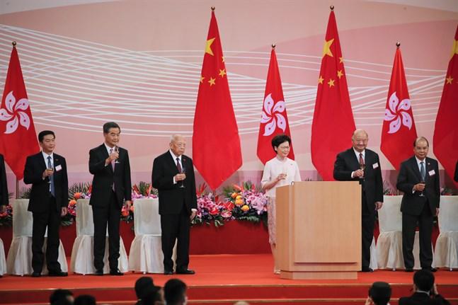 Hongkong kedare Carrie Lam talar vid en ceremoni under 23-årsfirandet av stadens återförande till Kina.