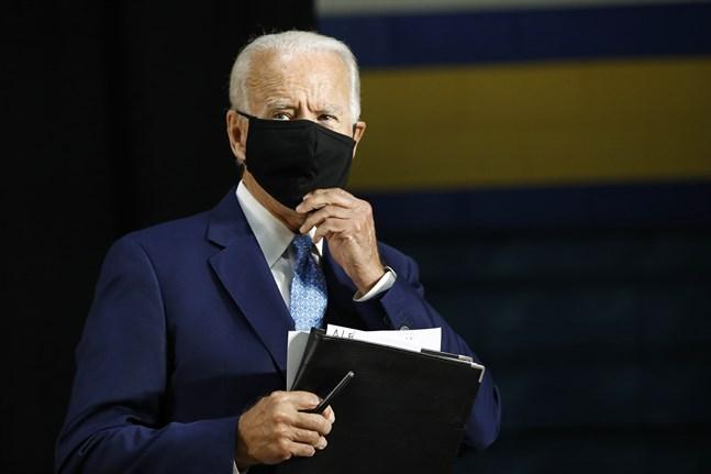 Joe Biden under presskonferensen i Delaware.