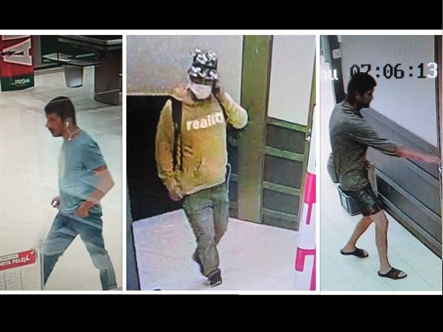 Polisens bilder på tre misstänkta guldsmedstjuvarna i Seinäjoki.