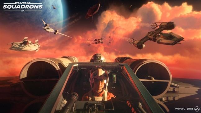 """Fem mot fem gör upp i """"Star wars: Squadrons"""", där det är möjligt att möta spelare över plattformsgränserna. Fem ansågs vara lagom för ett lag. """"Den genomsnittlige spelaren behöver en mindre grupp för att på ett realistiskt sätt kunna koordinera sig"""", säger Ian Frazier, kreativt ansvarig för spelet. Pressbild."""