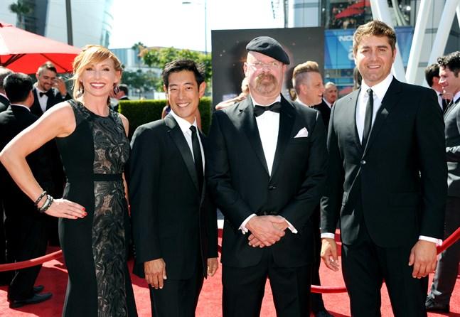 Grant Imahara (andra från vänster) tillsammans med tidigare Mythbuster-kollegorna Kari Byron, Jamie Hyneman, och Tory Belleci. Arkivbild.