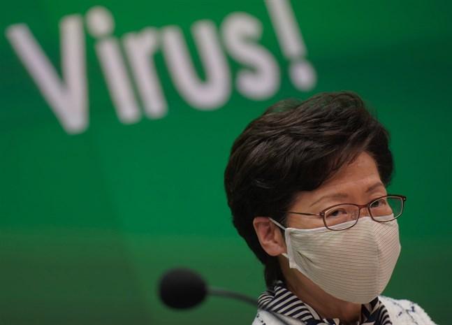 Hongkongs chefsminister Carrie Lam under en presskonferens förra veckan. Arkivbild.