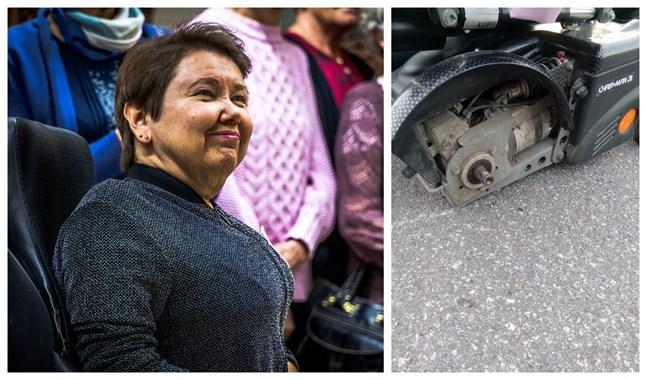 Carola Lithén råkade ut för en olycka då framhjulet på hennes rullstol lossnade.