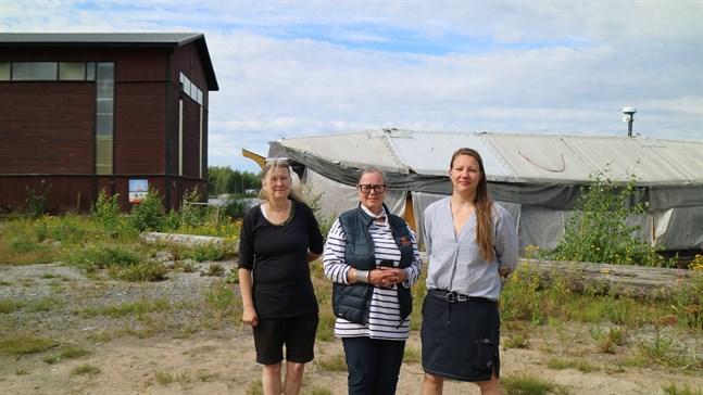Marie Ahlin, koordinator på Skeppsgården, Maria Lunabba från Vegastiftelsen och Nilla Granholm från Macken välkomnar alla ut till Gamla hamn till helgen.
