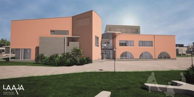 Ingången till den östra delen, som planeras bli skolans hjärta och ansikte utåt.