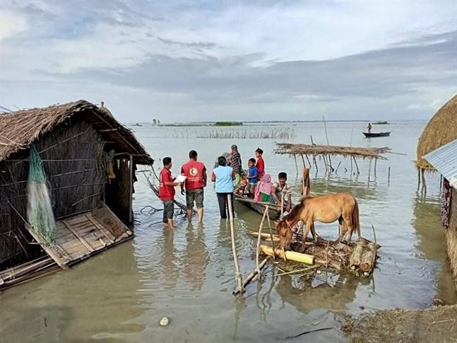 Volontärer från Röda Korset levererar vatten och andra förnödenheter till en familj i Kurigram. En fjärdedel av Bangladesh och en tredjedel av landets distrikt ligger under vatten.