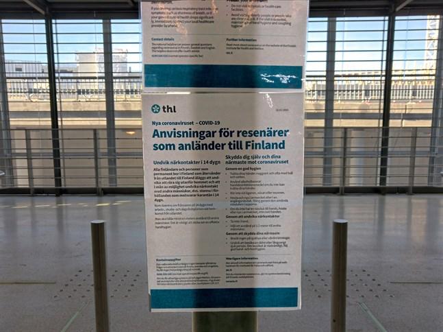 Har man besökt ett land som kan kräva hemkarantän efteråt borde man meddela det vid flygplatsens rådgivningspunkt.