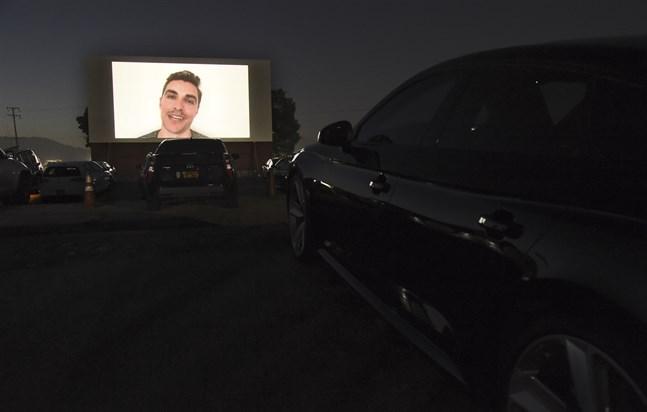 "Dave Franco presenterar sin ""The rental"" inför en visning på en drive in-biograf. Arkivbild."