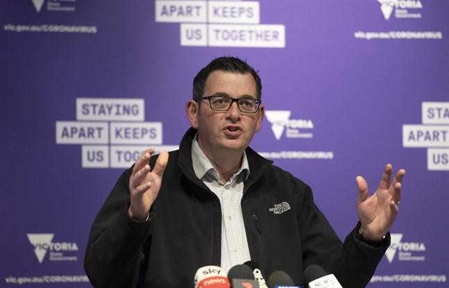 Daniel Andrews, premiärminister i den australiska delstaten Victoria, vid en presskonferens.