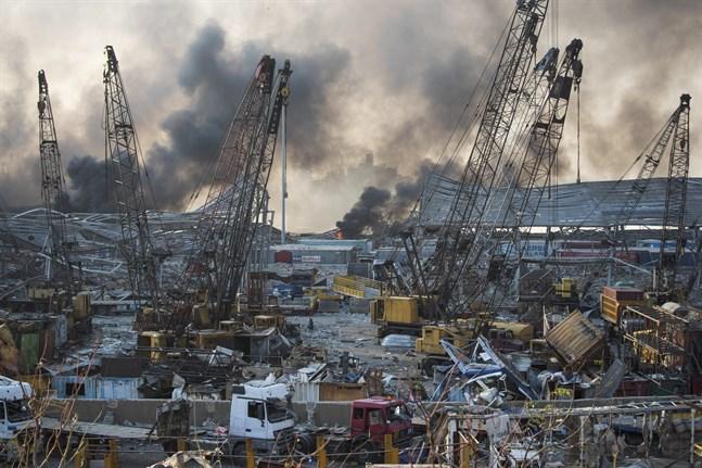 Explosionerna i Beirut i Libanon orsaklade stor förödelse.