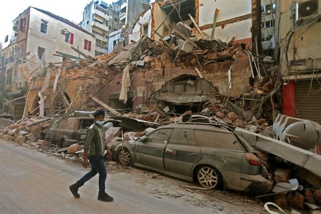 Förödelsen är stor efter explosionen i Beirut.