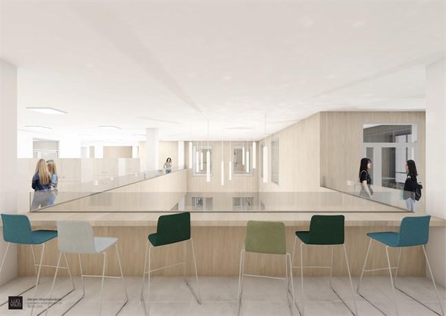 I Närpes nya högstadieskola har arkitekterna lekt med kontraster. Insidan blir ljus och fasaden mörk, men att skolan är byggd av trä kommer att märkas såväl ute som inne.