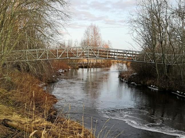 Den här gång- och cykelbron går över ån nära gamla begravningsplatsen i Pörtom. Den nya bron skulle gå över ån längre söderut nära nya begravningsplatsen.