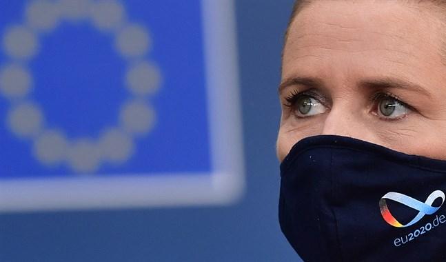Danmarks statsminister Mette Frederiksen under ett EU-möte i Bryssel i juli.