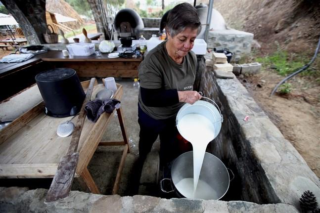 Aphrodite Philippou i färd med att tillverka halloumiost i byn Kampia på Cypern. Arkivbild.