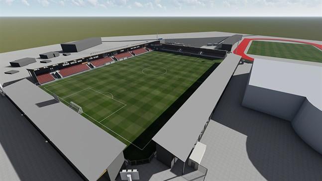 Skiss över Jakobstads stadionprojekt med arbetsnamnet Jeppis Stadion. Simhallen är till höger.