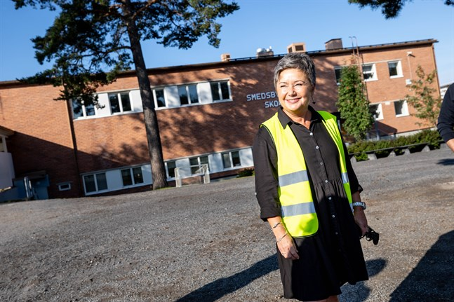 Rektor Lena Sjöholm-Fahlund var glad för att skolstarten kunde utföras på normalt sätt.