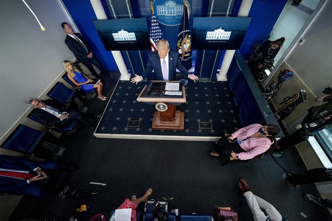 USA:s president Donald Trump vid en presskonferens i Vita huset.