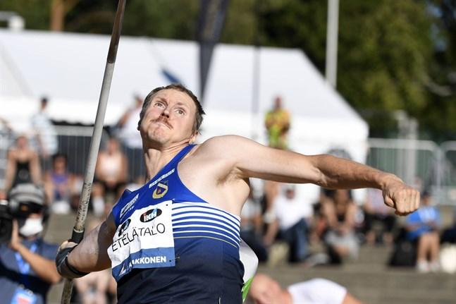 Lassi Etelätalo klämde till med inhemskt årsbästa i tredje omgången i spjutfinalen i Åbo.