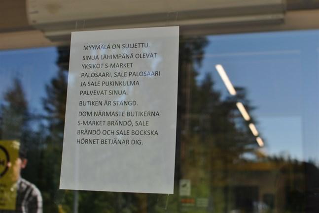 S-Market i Gerby stängdes strax efter klockan 9 i morse.
