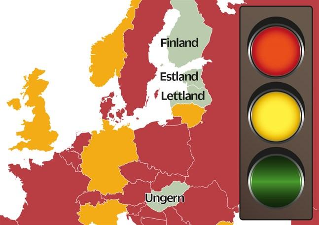 Så här såg trafikljusen ut ur Finlands synpunkt den 26 august, enligt THL.