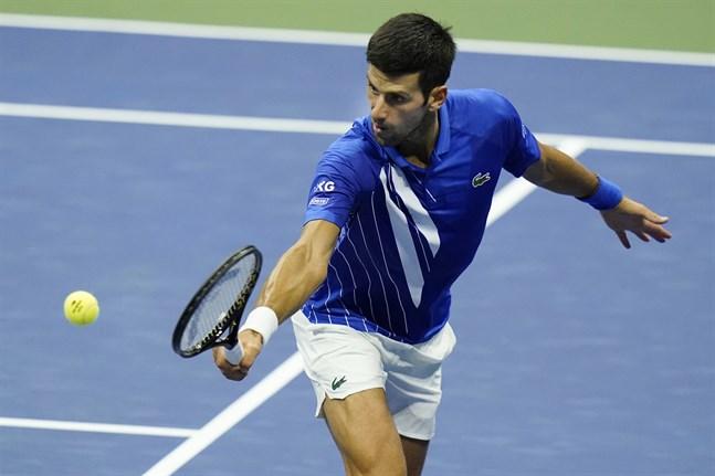 Novak Djokovic under matchen mot Jan-Lennard Struff.