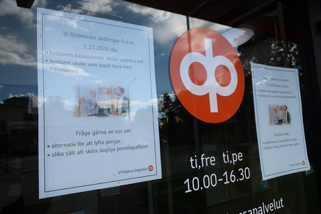 Bankkontoret i Terjärv är nu öppet två dagar i veckan med kassatjänster under sammanlagt sex timmar.